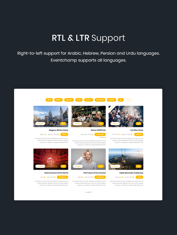 WordPress event rtl theme